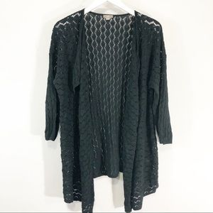 J Jill open knit crochet cardigan size M